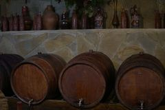 Vintage wine cellar cask wine and alcohol. Vintage wine cellar cask wine and royalty free stock photo