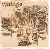 Vintage. Wine Cellar. An hand drawn vector picture. Line art ill Royalty Free Stock Images