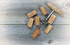 Vintage wine corkscrew with used corks Royalty Free Stock Photography