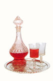 Vintage wine decanter and two glasses Stock Images