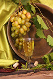 Vintage wine glass against background cluster of grapes and coop Royalty Free Stock Photography