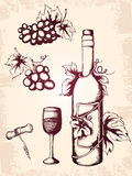 Vintage wine icons royalty free stock image