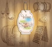 Vintage wine labels. Hand drawn illustrations. Wooden background with sketches royalty free illustration