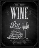 Vintage Wine List Poster - Chalkboard. Royalty Free Stock Image
