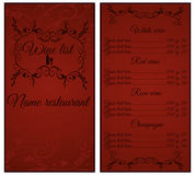 Vintage wine list. Royalty Free Stock Image
