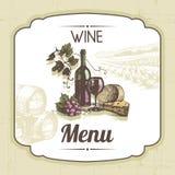 Vintage wine menu background vector illustration