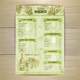 Vintage wine menu design. Document template Royalty Free Stock Images