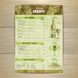 Vintage wine menu design. Document template Royalty Free Stock Photography