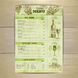 Vintage wine menu design. Document template Royalty Free Stock Image