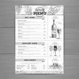 Vintage wine menu design. Stock Photography