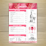 Vintage wine menu design. Document template Royalty Free Stock Photo