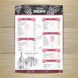 Vintage wine menu design. Document template Stock Photos