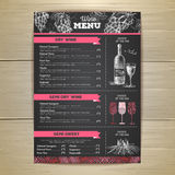 Vintage wine menu design. Document template Stock Photography