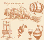 Vintage wine and wine making set Royalty Free Stock Photos