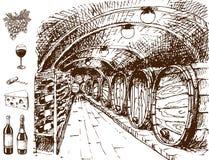 Vintage winery wine production handmade draft winemaking sketch fermentation grape drink vector illustration Royalty Free Stock Images