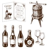 Vintage winery wine production handmade draft winemaking sketch fermentation grape drink vector illustration. Vintage winery wine production handmade draft Stock Photography