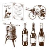 Vintage winery wine production handmade draft winemaking sketch fermentation grape drink vector illustration Stock Image