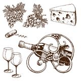 Vintage winery wine production handmade draft winemaking. Sketch old fermentation grape drink vector illustration. Traditional vineyard alcohol agriculture farm Stock Image
