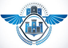 Vintage winged emblem created in vector heraldic design and comp Royalty Free Stock Image