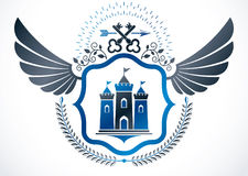 Vintage winged emblem created in vector heraldic design and comp royalty free illustration
