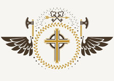 Vintage winged emblem created in vector heraldic design and comp Royalty Free Stock Photo