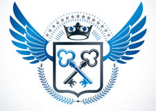 Vintage winged emblem created in vector heraldic design and comp Royalty Free Stock Photos
