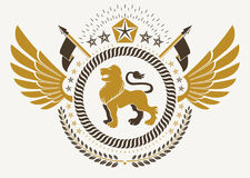 Vintage winged emblem created in vector heraldic design and comp Stock Photo