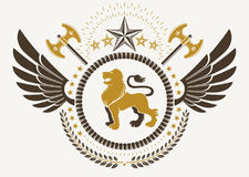 Vintage winged emblem created in vector heraldic design   Stock Photography