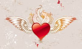 Vintage winged heart Royalty Free Stock Images