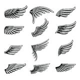 Vintage wings icon set isolated on white background. Design elements for logo, label, emblem, sign, brand mark. Vector illustration stock illustration