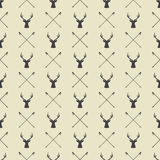 Vintage winter or christmas seamless pattern with deers Stock Images