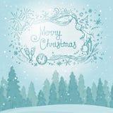 Vintage winter forest landscape. Postcard Merry Christmas. Vector illustration Royalty Free Stock Image