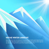 Vintage winter mountains background. Vector illustratin. Winter mountain landscape. Vintage winter mountains background. Vector illustratin. Winter mountain Royalty Free Stock Images