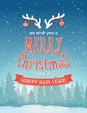 Vintage winter night forest landscape. Merry Christmas and happy new year card. vector illustration Stock Photography