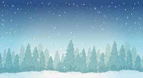 Vintage winter night forest landscape. Royalty Free Stock Image