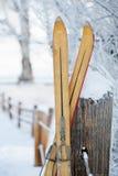 Vintage Winter Ski Tips. In Snow Scene Stock Images