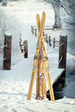 Vintage Winter Skis. In Snow Scene Royalty Free Stock Image