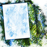 Vintage winter textured background. Vintage winter background with canvas texture Royalty Free Stock Image