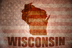 Vintage wisconsin map. Wisconsin map on a vintage american flag background stock photo