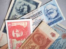 Vintage withdrawn banknotes of CCCP, DDR, Germany royalty free stock photos