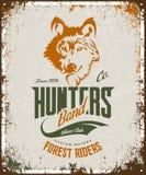 Vintage wolf custom motors club t-shirt vector logo on light background.  Stock Images