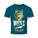 Vintage wolf custom motors club vector logo on blue t-shirt mock up.  Royalty Free Stock Photography