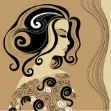 Vintage woman. With beautiful hair stock illustration