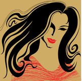Vintage woman. With beautiful hair vector illustration