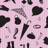 Vintage woman accessories seamless pattern stock photo