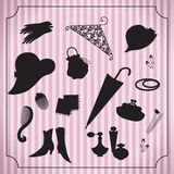 Vintage woman accessories set Stock Photos