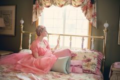 Vintage, Woman On Bed, Retro Stock Photography