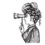 Vintage woman with binocular. Vector illustration of vintage engraved woman in hat with feathers and dress - person looking through binocular at something Royalty Free Stock Photo