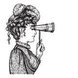 Vintage woman with binocular. Vector illustration of vintage engraved woman in hat with feathers and dress - person looking through binocular at something Royalty Free Stock Photography
