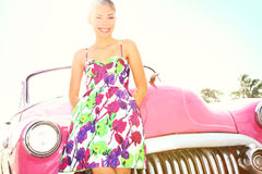 Vintage woman and car royalty free stock images